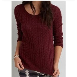 American Eagle Chunky Red Cabled Sweater XS